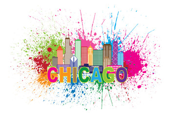 Chicago Skyline Paint Splatter Abstract Colorful Vector Illustration