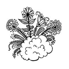 flowers on a cloud doodle sketch vector illustration