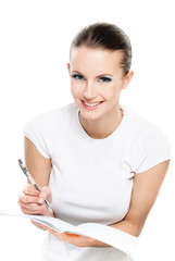 Girl writes to writing-books