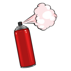 Vector Cartoon Aerosol Spray with Red Paint