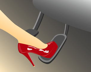 A woman's foot in a high heeled red shoe pressing the gas pedal in a car