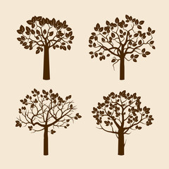 Set of Brown Trees and Cream Background
