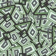 Seamless geometric pattern in dark green tones. Khaki. For fashion textile, cloth, backgrounds. Seamless pattern, background, texture. Vector ornament. Decorative tiles.