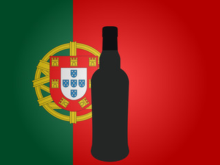 Portuguese Flag with a Bottle of Wine EPS10