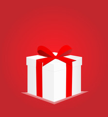 Minimalist Greeting Card with Gift Box Red Background 1 EPS10