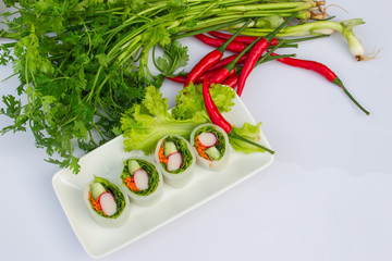 Fresh vegetable Rice sheet rolls (Garden wars:the attack of the noodle) Thai style