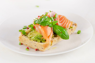 Healthy Cereal Sandwich with a smoked salmon