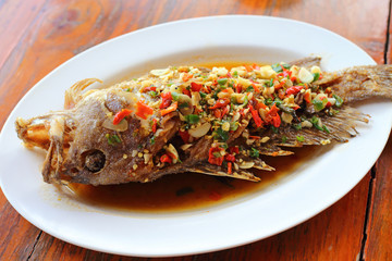 Deep fried grouper fish in chilly sauce
