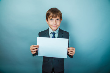 Teen boy signboard businessman holding sign on the background of