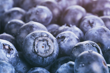 wet ripe blueberries for background