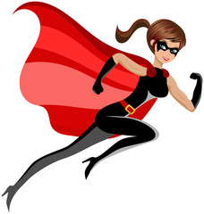Superhero sexy beautiful woman running or flying  isolated