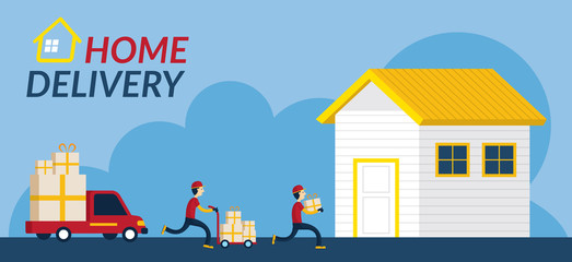 Home Delivery Service, Delivery Boy or Postman Send Parcel Box to Home, Flat Design