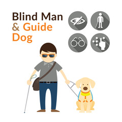 Blind Man with Guide Dog, Seeing Eye Dog, Illustrate and Icons