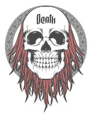 Skull with red Hair Vector Illustration