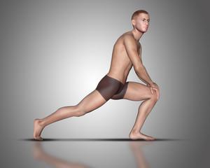 3D male figure in yoga pose
