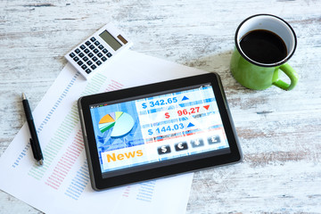 Stock market trading app on a Tablet PC.