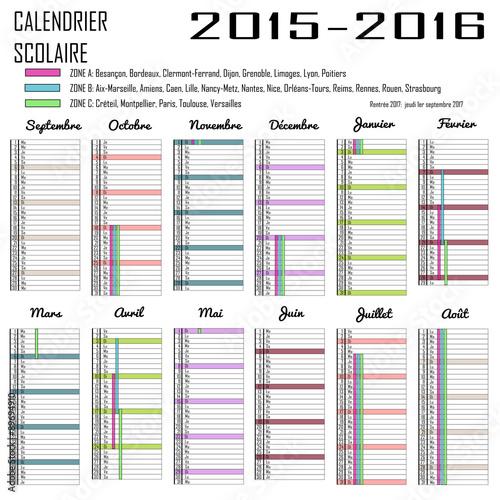 calendrier des vacances scolaires 2015 2016 personnalisable fichier vectoriel libre de droits. Black Bedroom Furniture Sets. Home Design Ideas