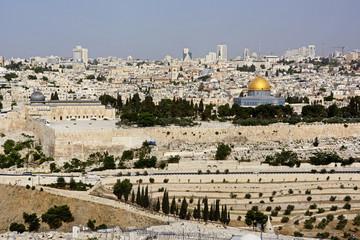 Jerusalem, Blick vom Ölberg auf die Stadt.