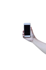 Cell phone in a woman's hand isolated