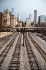 Train Tracks Downtown City Skyline Chicago Metro