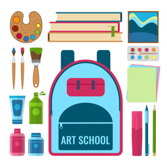 Set of art and craft tools and art education objects. Art school concept.