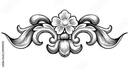 """Vintage baroque floral scroll foliage ornament filigree ..."