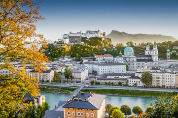 Historic city of Salzburg at sunset in fall, Austria