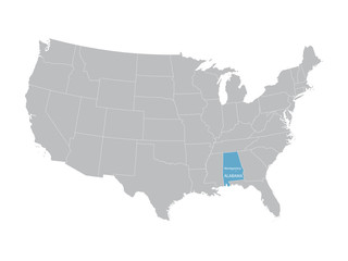 vector map of United States with indication of Alabama