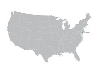 vector map of United States with indication of Delaware