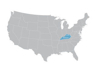vector map of United States with indication of Kentucky