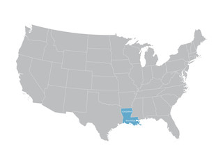 vector map of United States with indication of Louisiana
