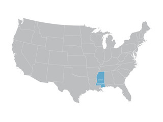 vector map of United States with indication of Mississippi