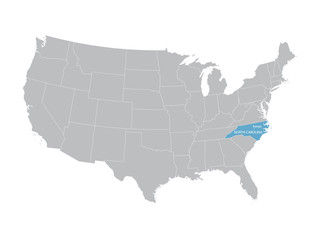 vector map of United States with indication of North Carolina
