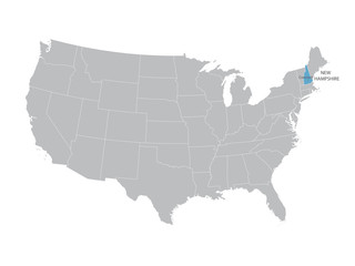 vector map of United States with indication of New Hampshire