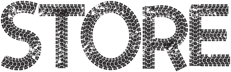 Store text with the letters made from motorcycle tire tracks, isolated on white