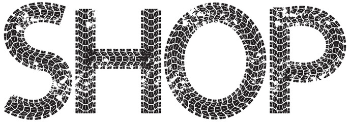 Shop text with the letters made from motorcycle tire tracks, isolated on white