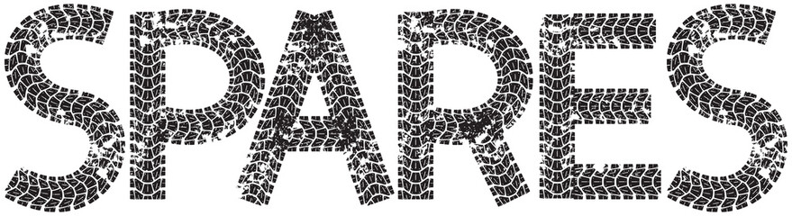Spares text with the letters made from motorcycle tire tracks, isolated on white