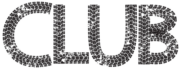 Club text with the letters made from motorcycle tire tracks, isolated on white