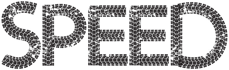 Speed text with the letters made from motorcycle tire tracks, isolated on white