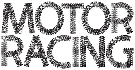 Motor Racing text with the letters made from motorcycle tire tracks, isolated on white