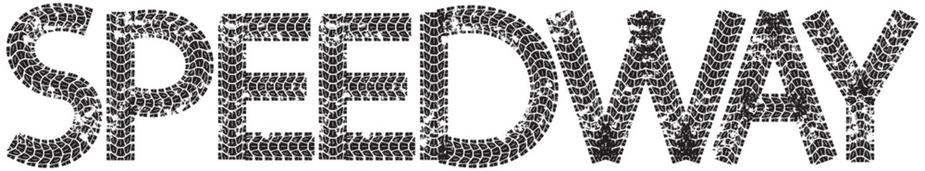 Speedway text with the letters made from motorcycle tire tracks, isolated on white