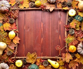 Pumpkins and autumn leaves.frame