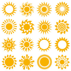 Collection of sun icons. Vector illustration