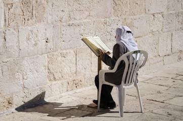 Man praying at Temple Mount, Jerusalem