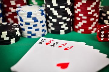 full house and poker chips