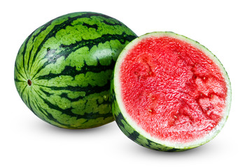 Fresh Whole Juicy sliced Green Watermelon. isolated on white background.