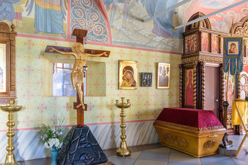 Interior of the church and crucifix for worship