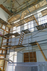 Scaffolding for renovation in church