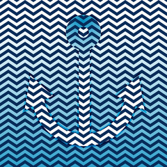 Vector anchor shape on zig zag abstract background, marine style illustration