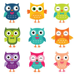 Wall Murals Owls cartoon Isolated cartoon owls collection